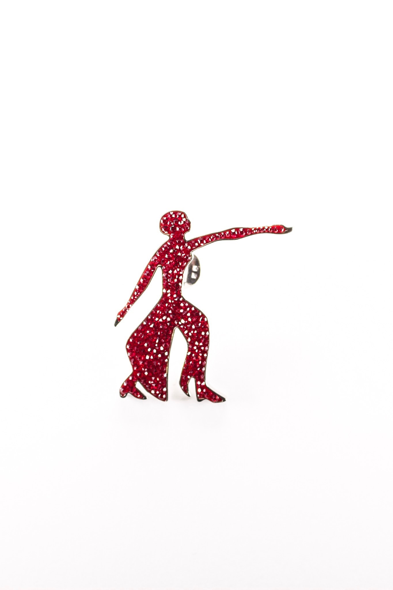 Two Tone Red /Clear Dual Brooch Pin/Pendant