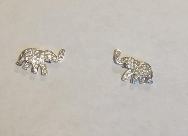 New! Sterling Silver CZ Elephant Earrings 00079