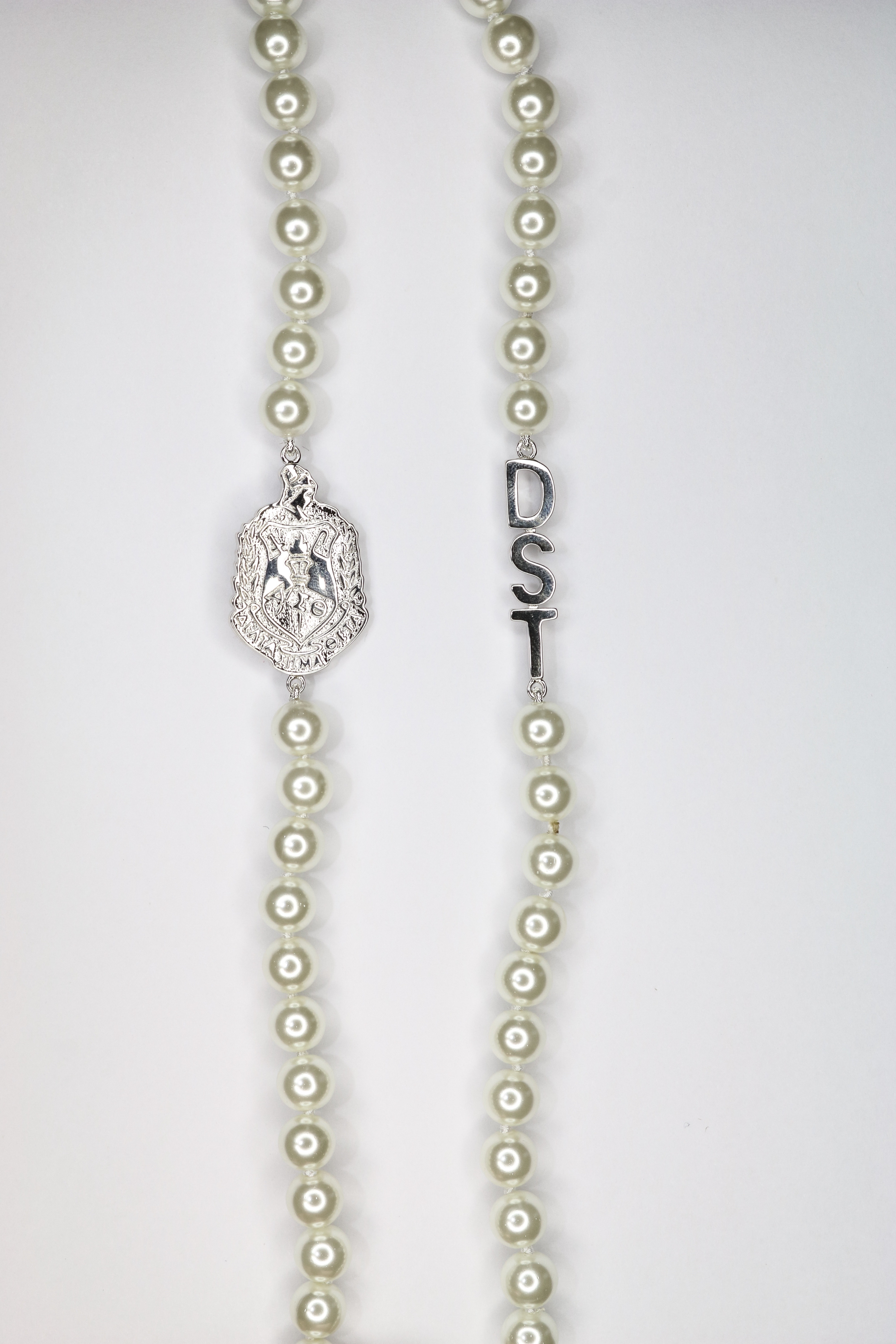 DST Silver Long Designer Pearl Necklace 00080