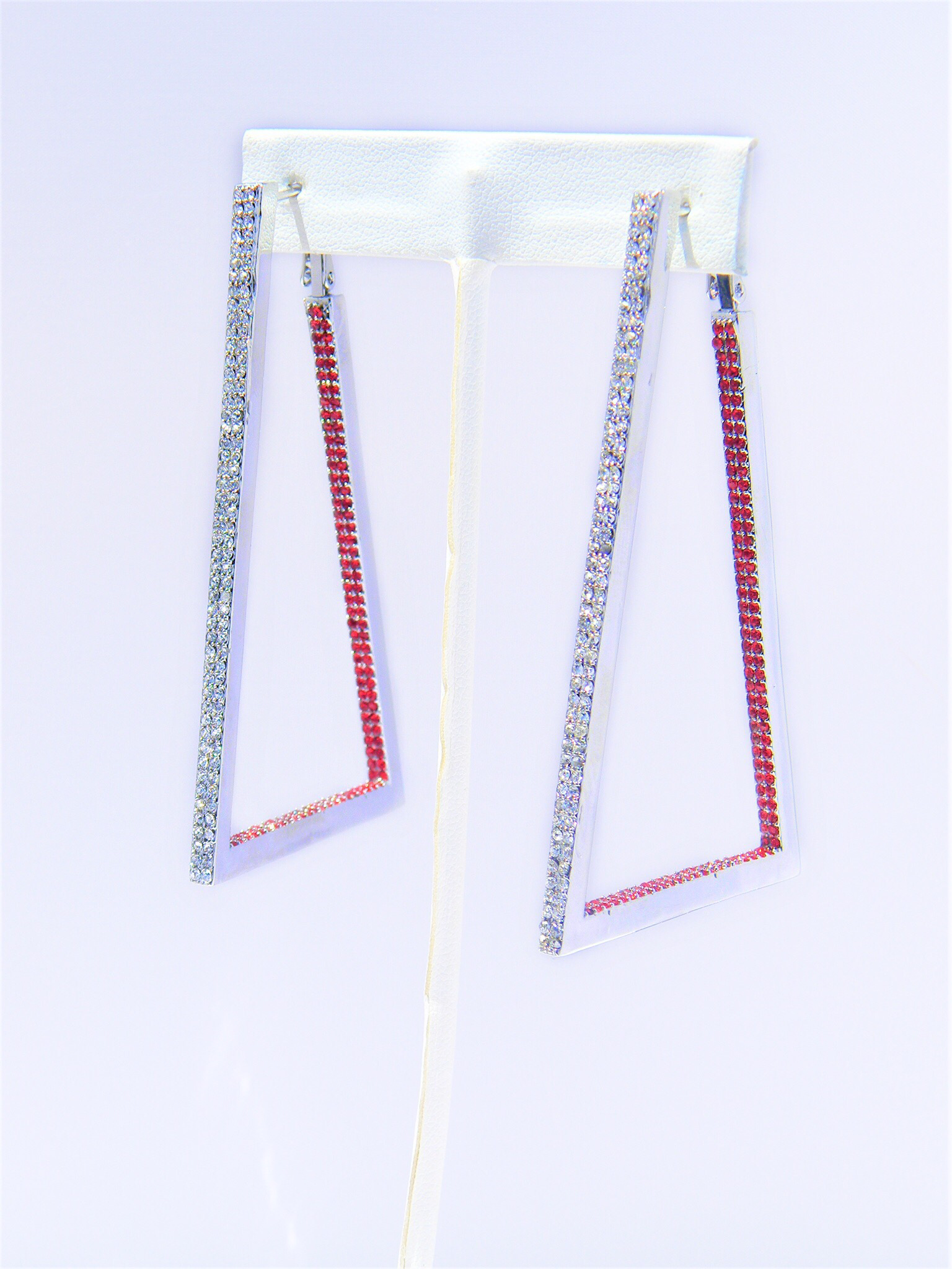 New Red Clear Earrings  00082