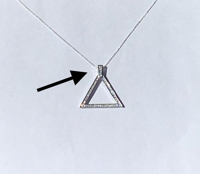 New Medium 925 CZ Pyramid Necklace  00085