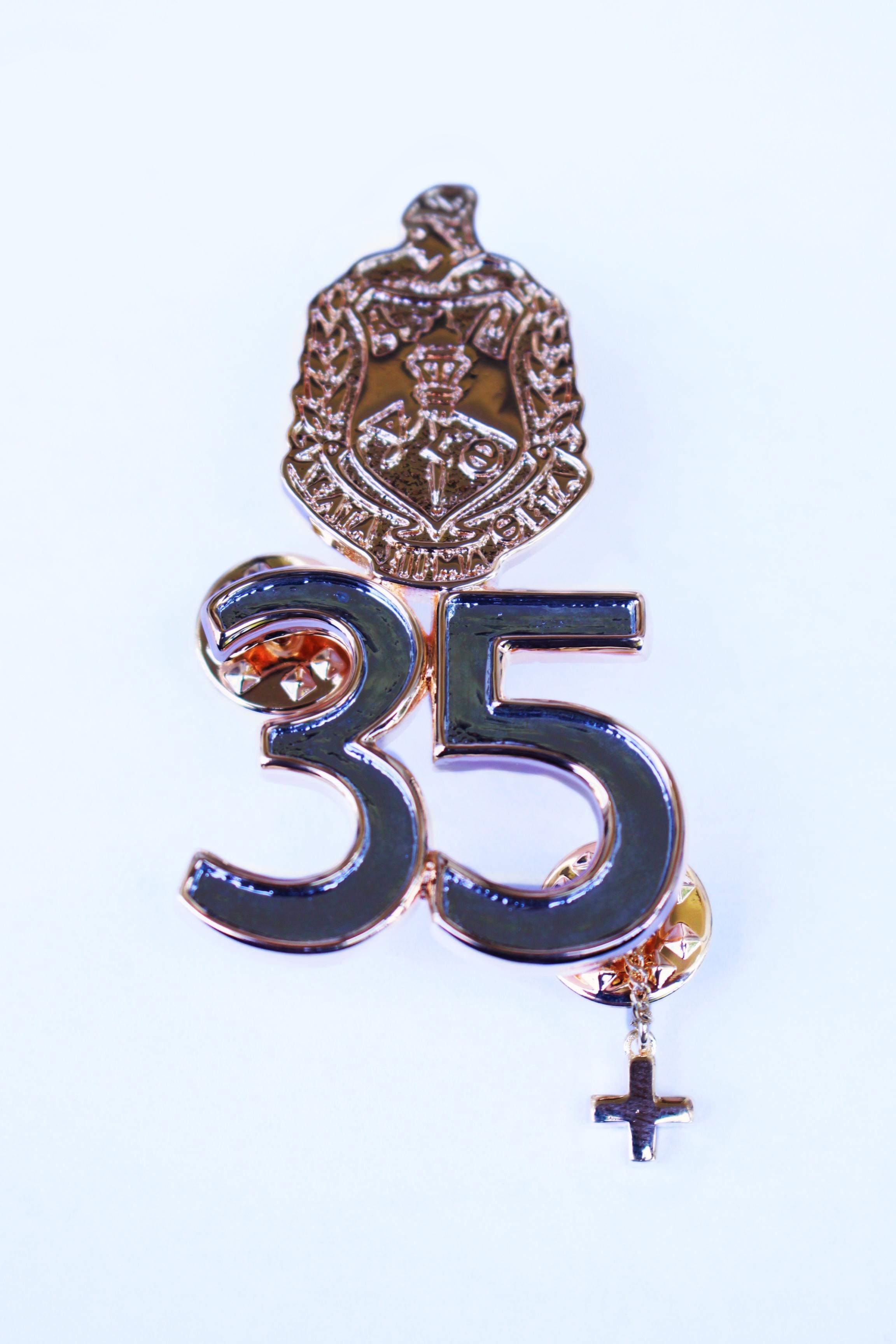High Polished 35 Year Sorority Pin - + Guard 00101