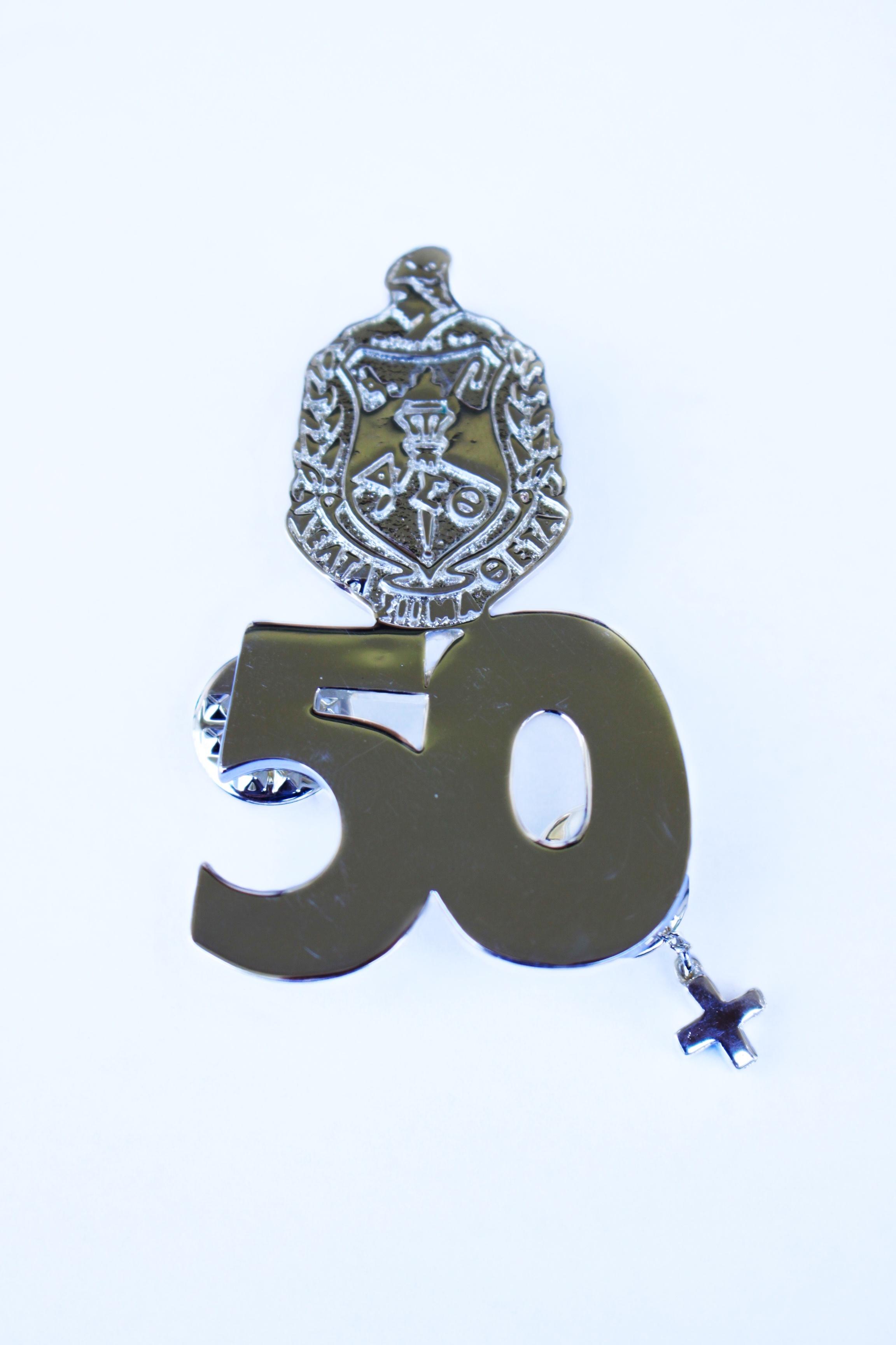 High Polished Gold 50 Year Sorority Pin - + guard 00102