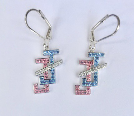 New! JNJ Pink & Blue Crystal dangle earrings 00109