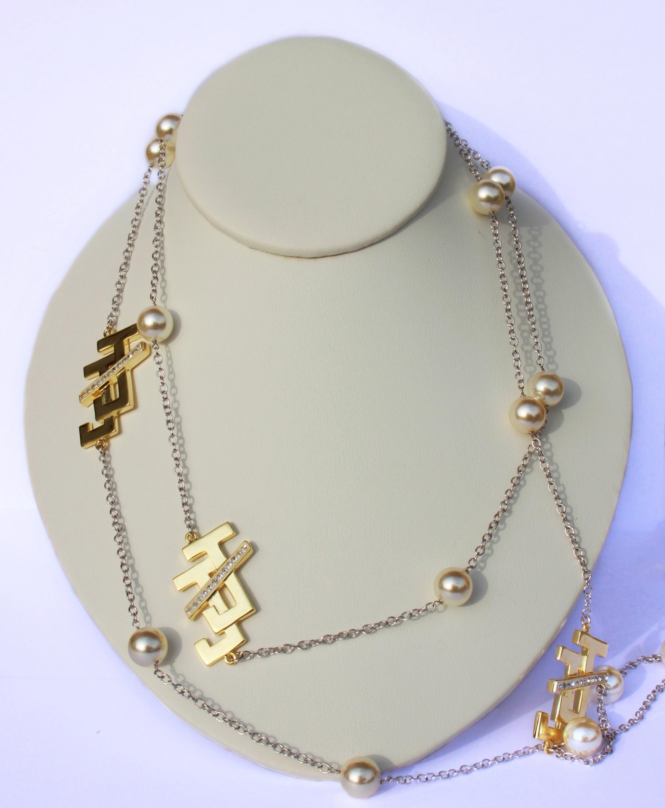 Designer JNJ Long Gold Hardware Pearl Necklace 00113