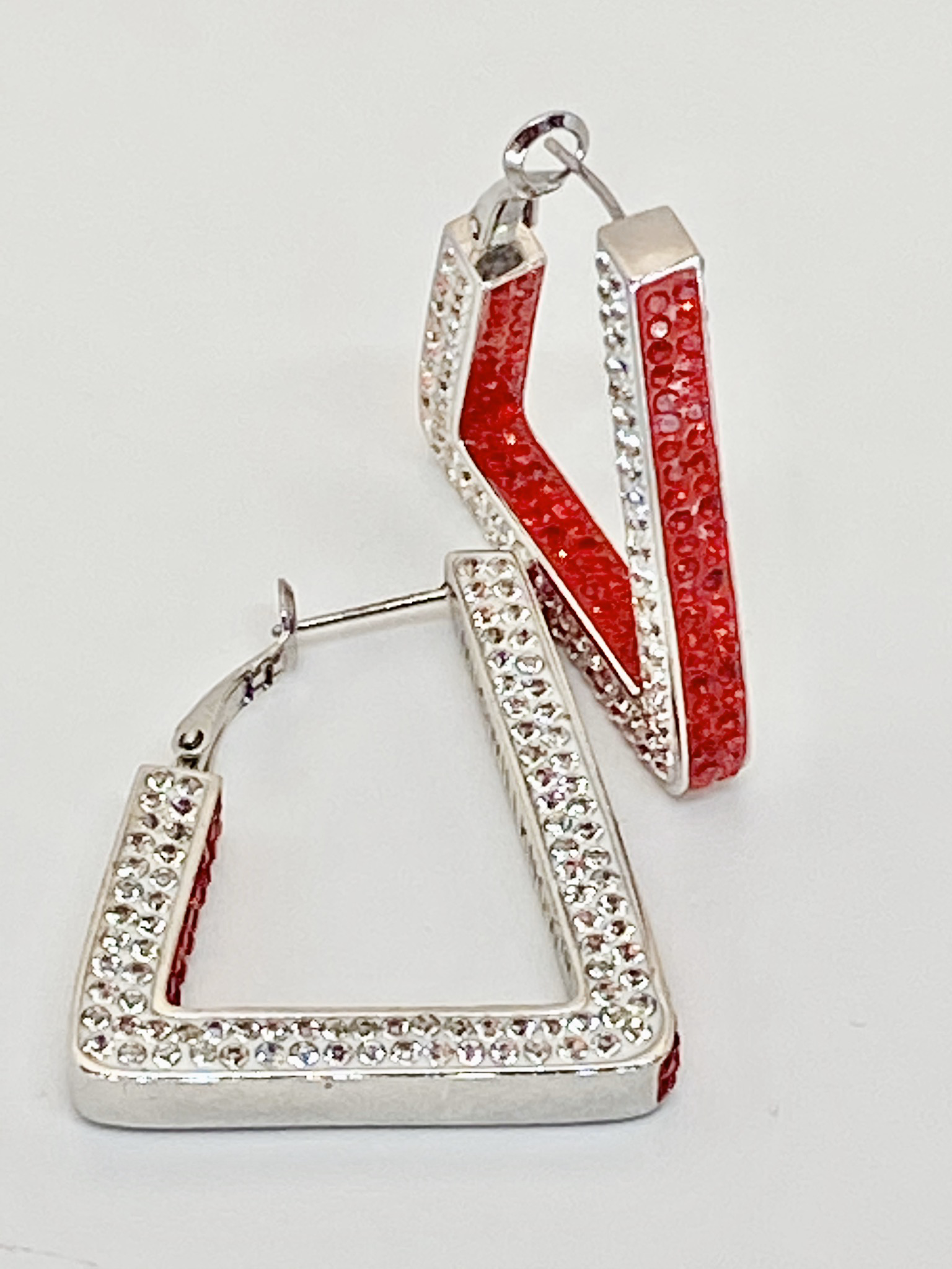 Red & White 2 Tone All Crystals Bling Earrings