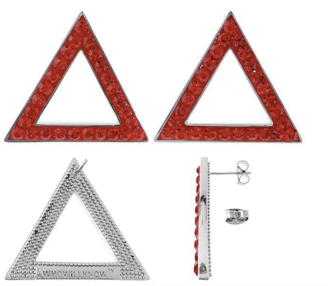 Red crystal pyramid earrings 00118