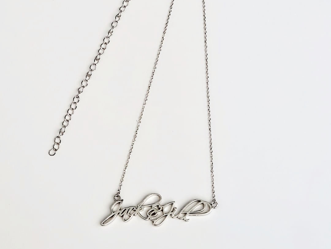Sterling Cursive Jack & Jill Necklace 00141