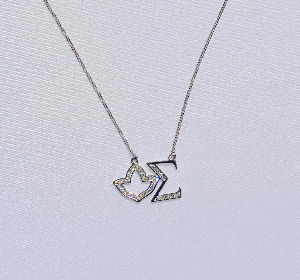 Ivy Sigma Sterling Silver CZ Necklace 00024