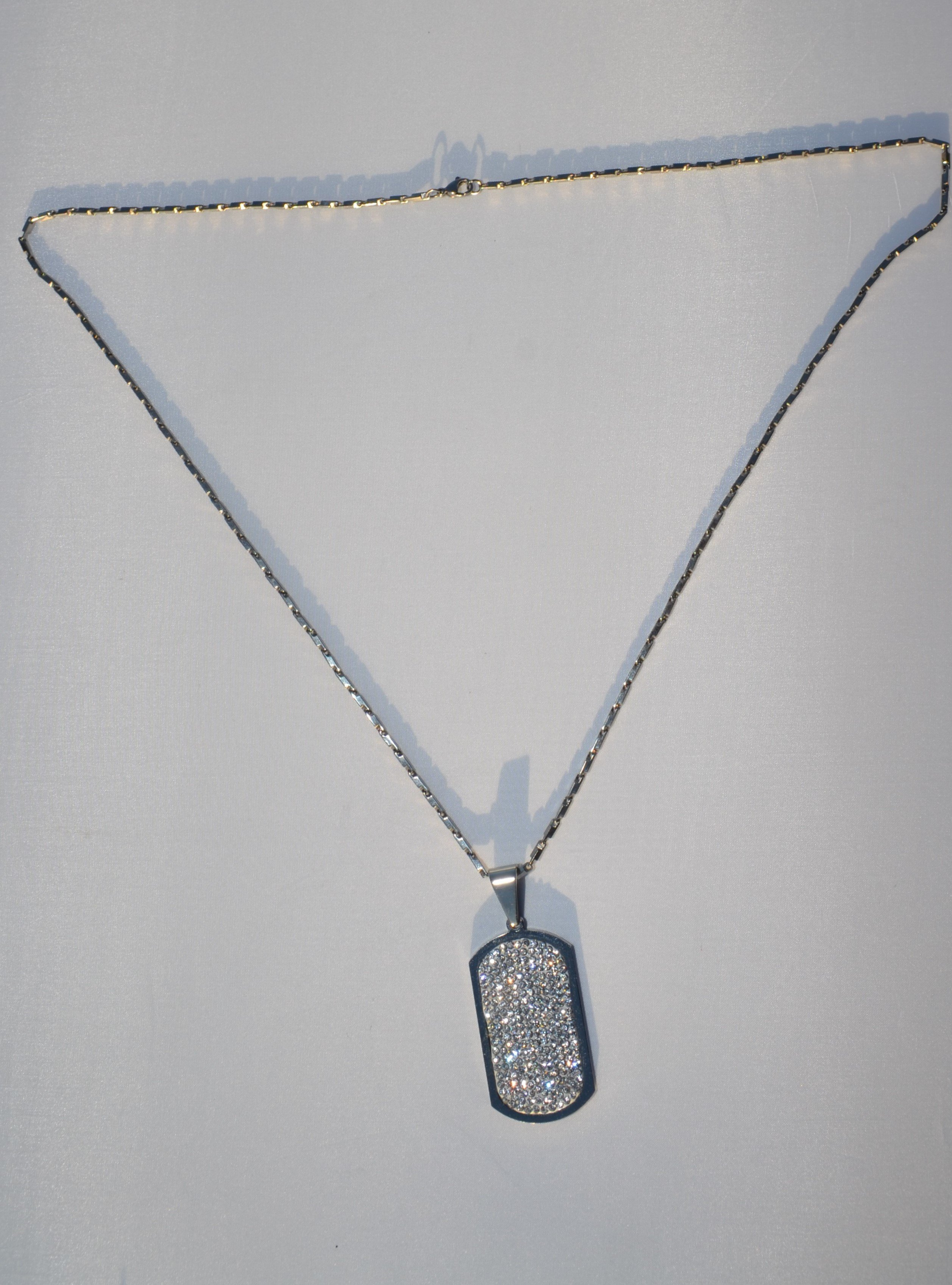 Mens Bling Stainless Tag Necklace 00047
