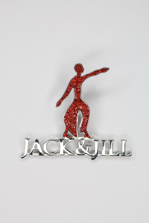 New Foritiude Jack N Jill Red Crystal Silver Pin 00061