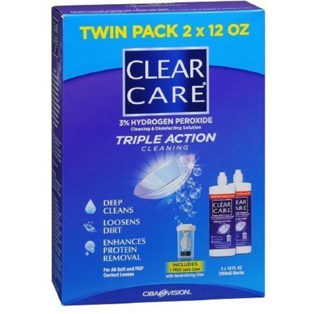 Clear Care Triple Action Cleaning 3% Hydrogen Peroxide Cleaning & Disinfecting Solution, Twin Pack
