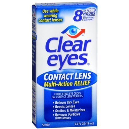 Clear Eyes Contact Lens Relief Soothing Eye Drops 0.50 oz