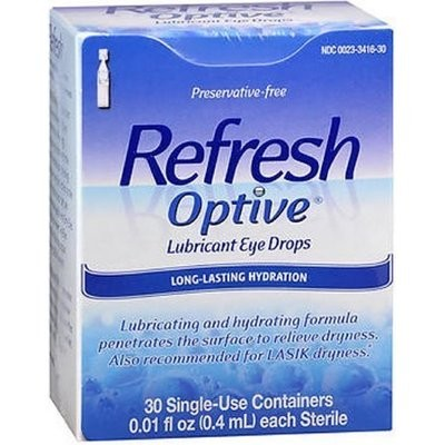 Refresh Optive Lubricant Eye Drops Long-Lasting Hydration Single Use Containers 30 pack