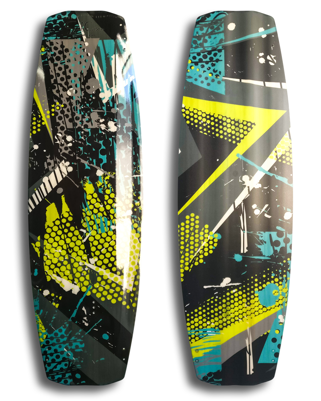 Standard 2.0 kiteboard - Vivid custom graphics - Wood core - Triaxial fiberglass construction