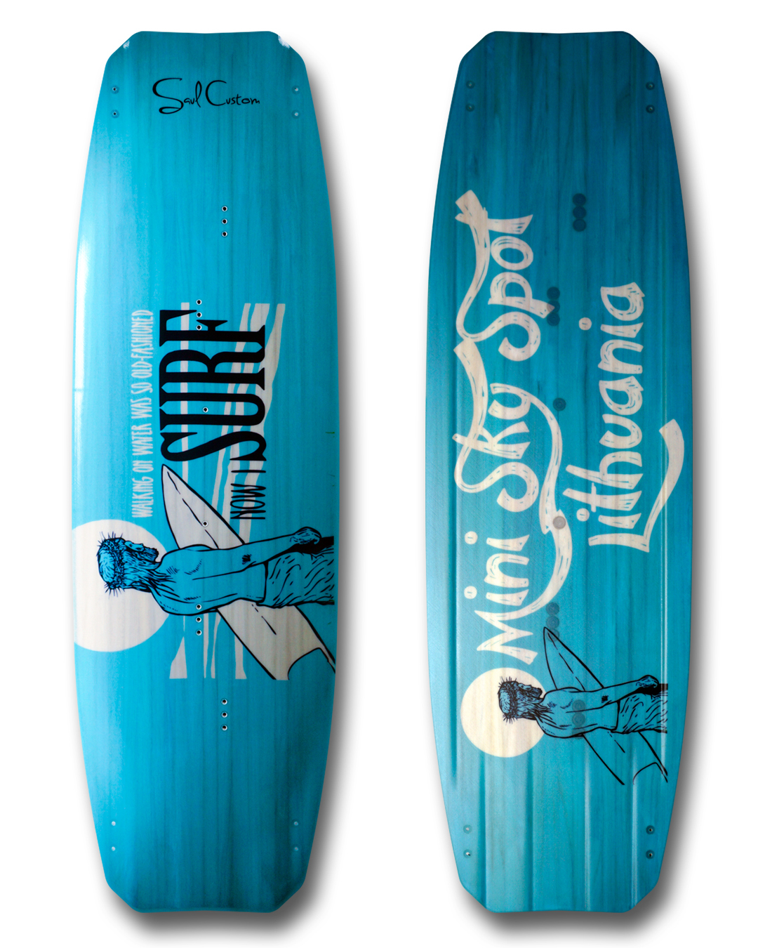 Pure 2.0 kiteboard - Vivid custom graphics - Wood core - Triaxial fiberglass construction