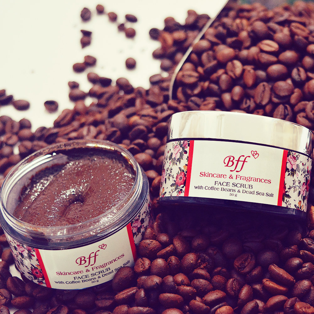 Face Scrub, Coffee Beans and Dead Sea Salt For Skin Tightening and Brightening. 50 Grams.