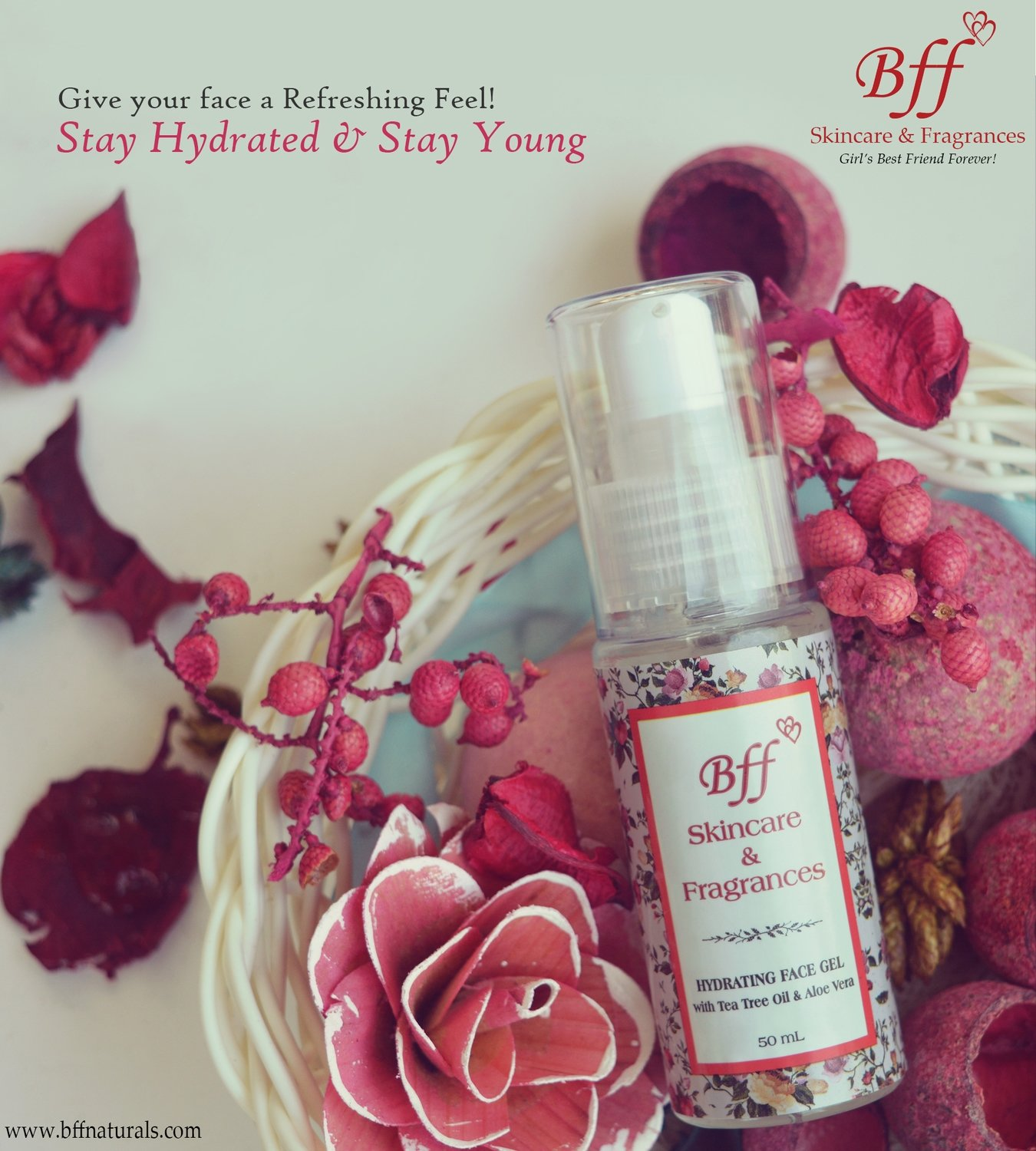 Hydrating Face Gel with Aloe Vera & tea Tree oil, for Instant Soothing & Refreshing Effect. 50 ml.