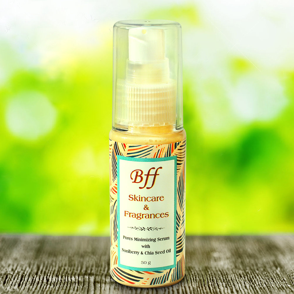 PORES MINIMIZING SERUM with Noni Berry & Chia Seed Oil, for Deep Cleansing and Skin Tightening. 50 Milliliters.