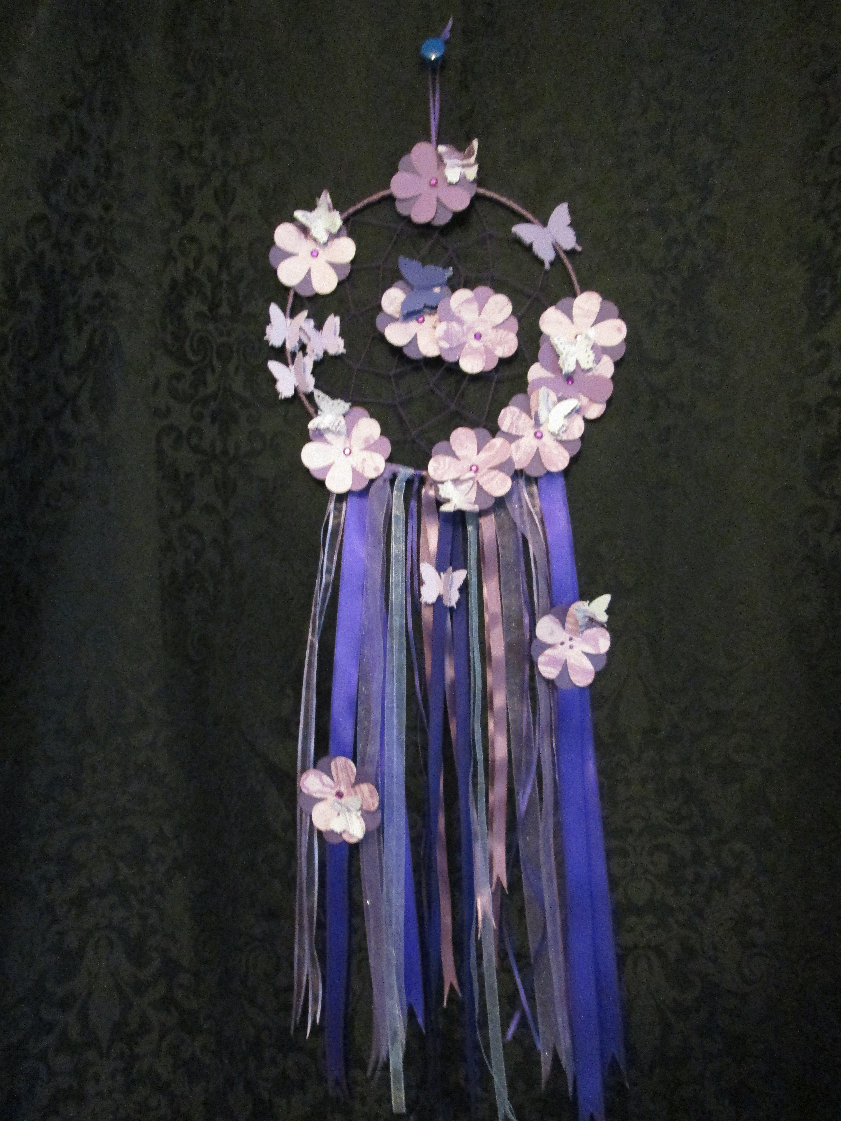 Purple Dreamcatcher w/flowers - Large 005dc