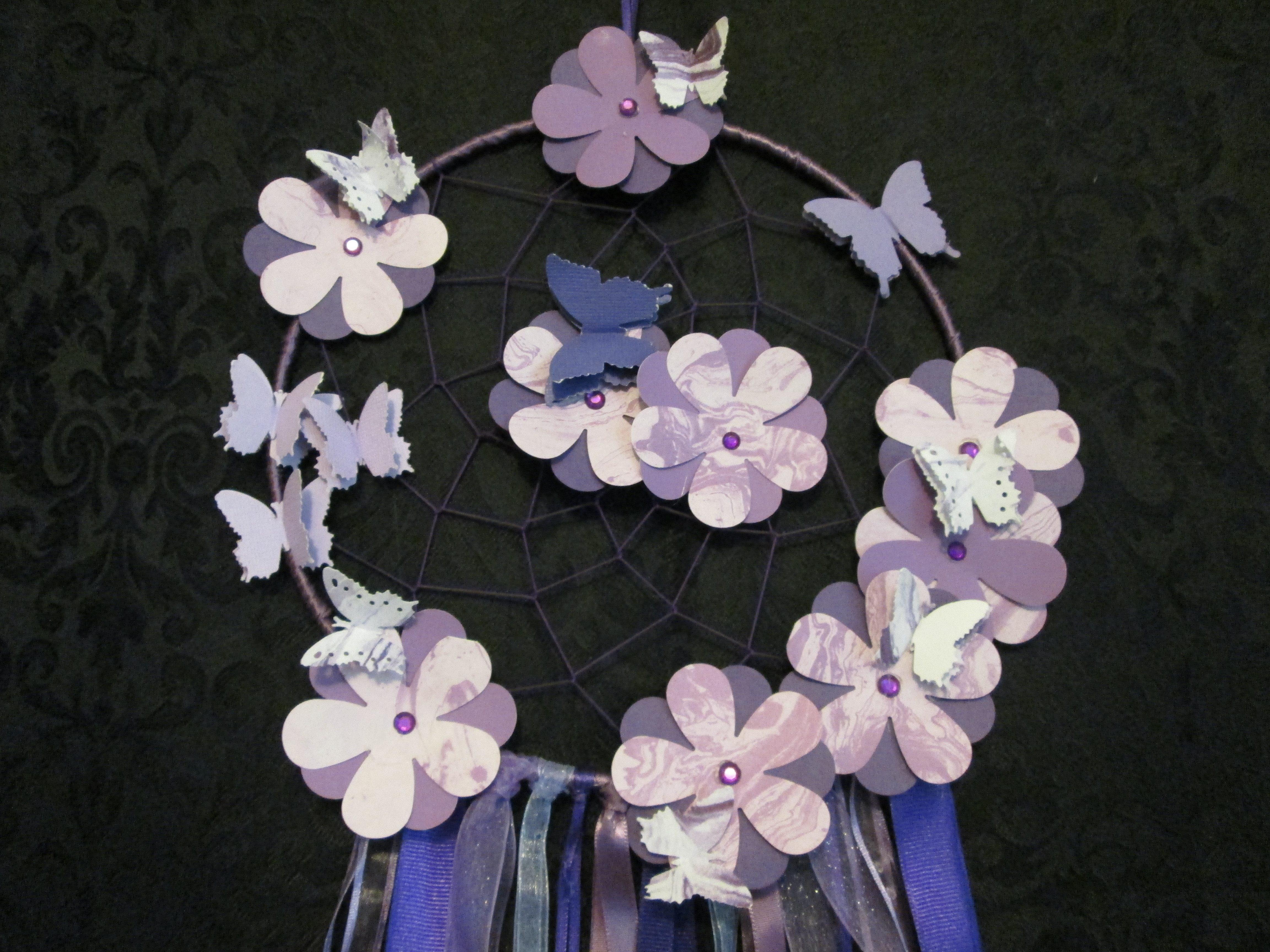 Purple Dreamcatcher w/flowers - Large