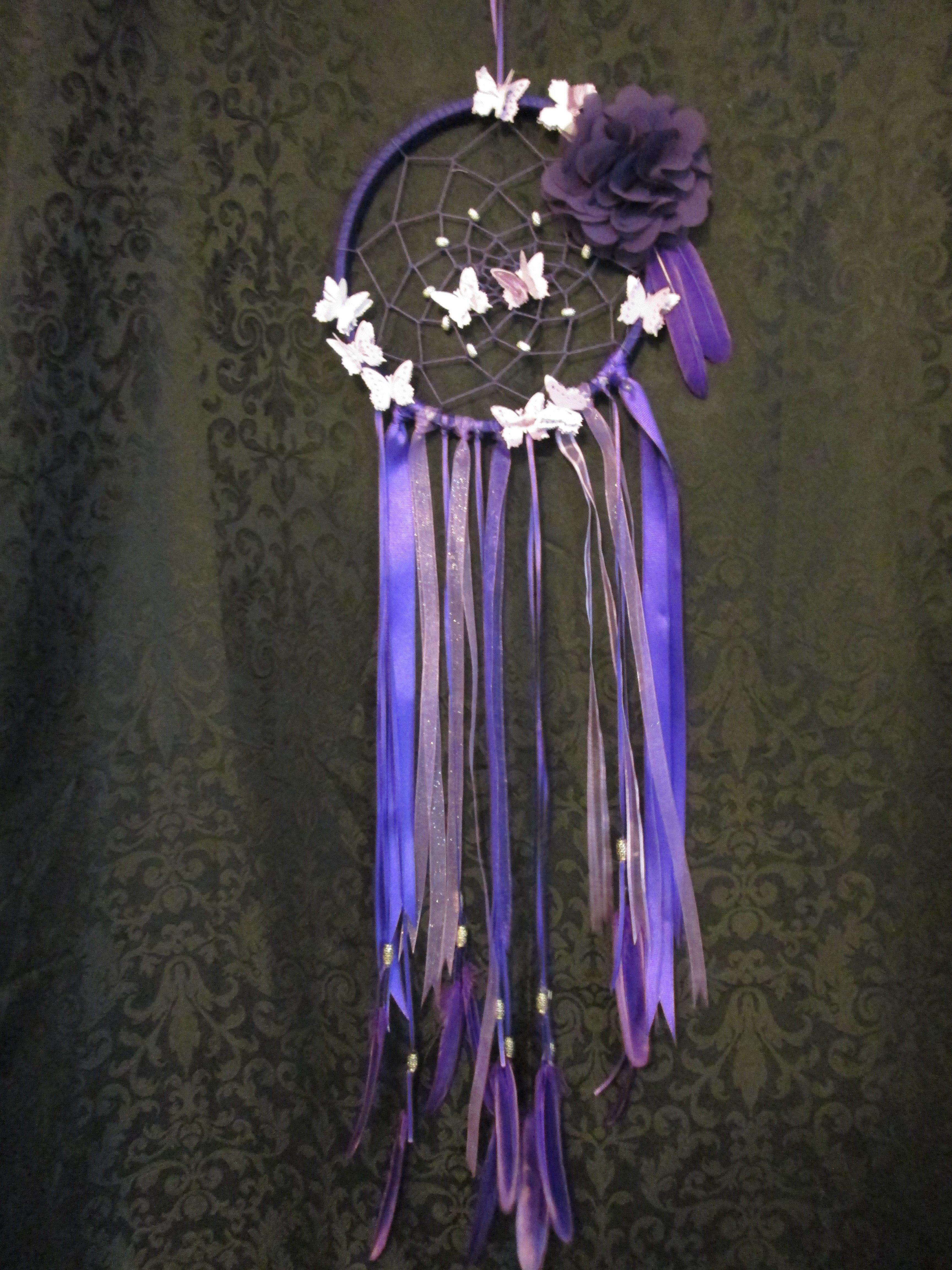 Purple Dreamcatcher w/Feathers - Large 006dc