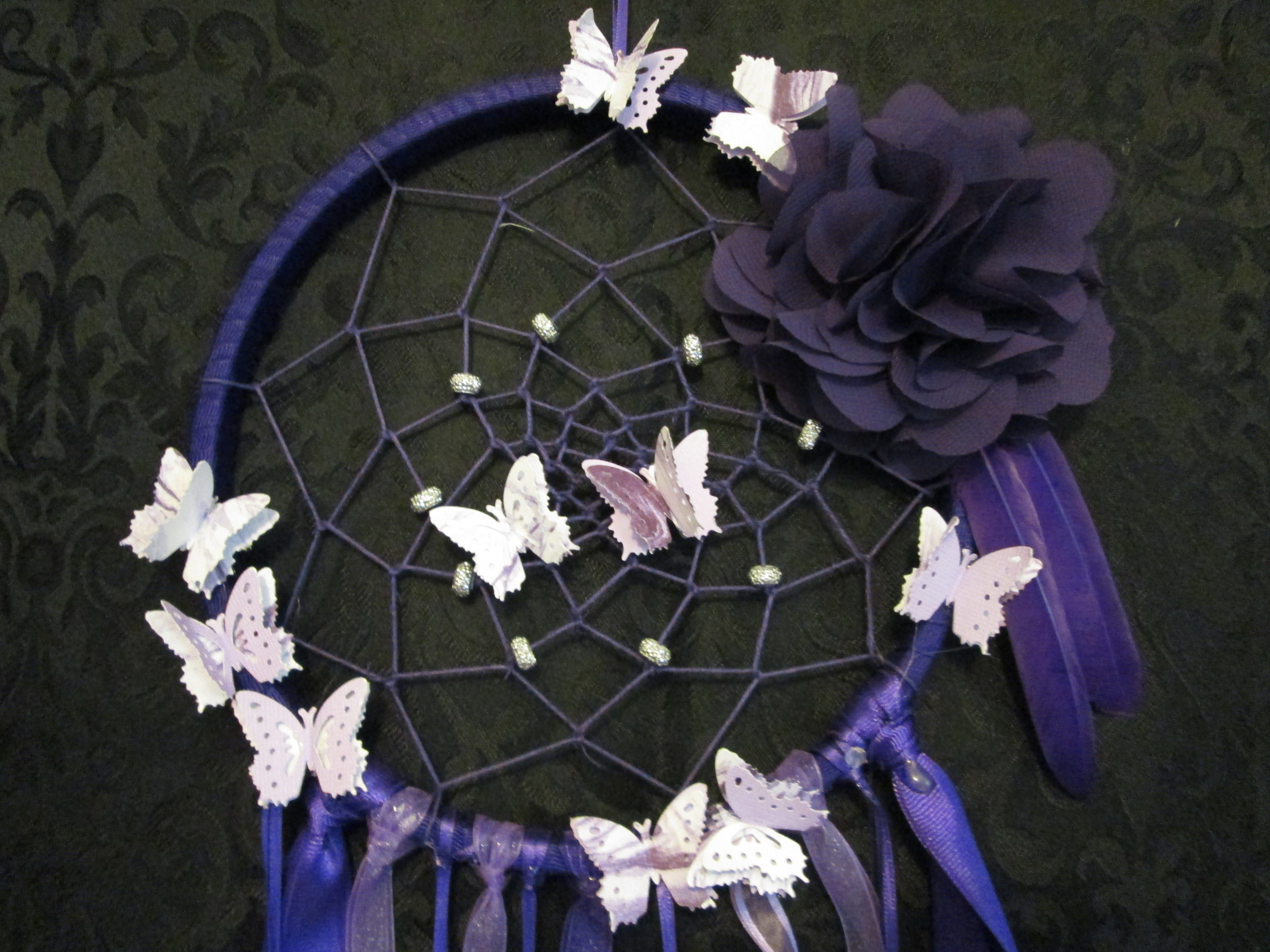 Purple Dreamcatcher w/Feathers - Large
