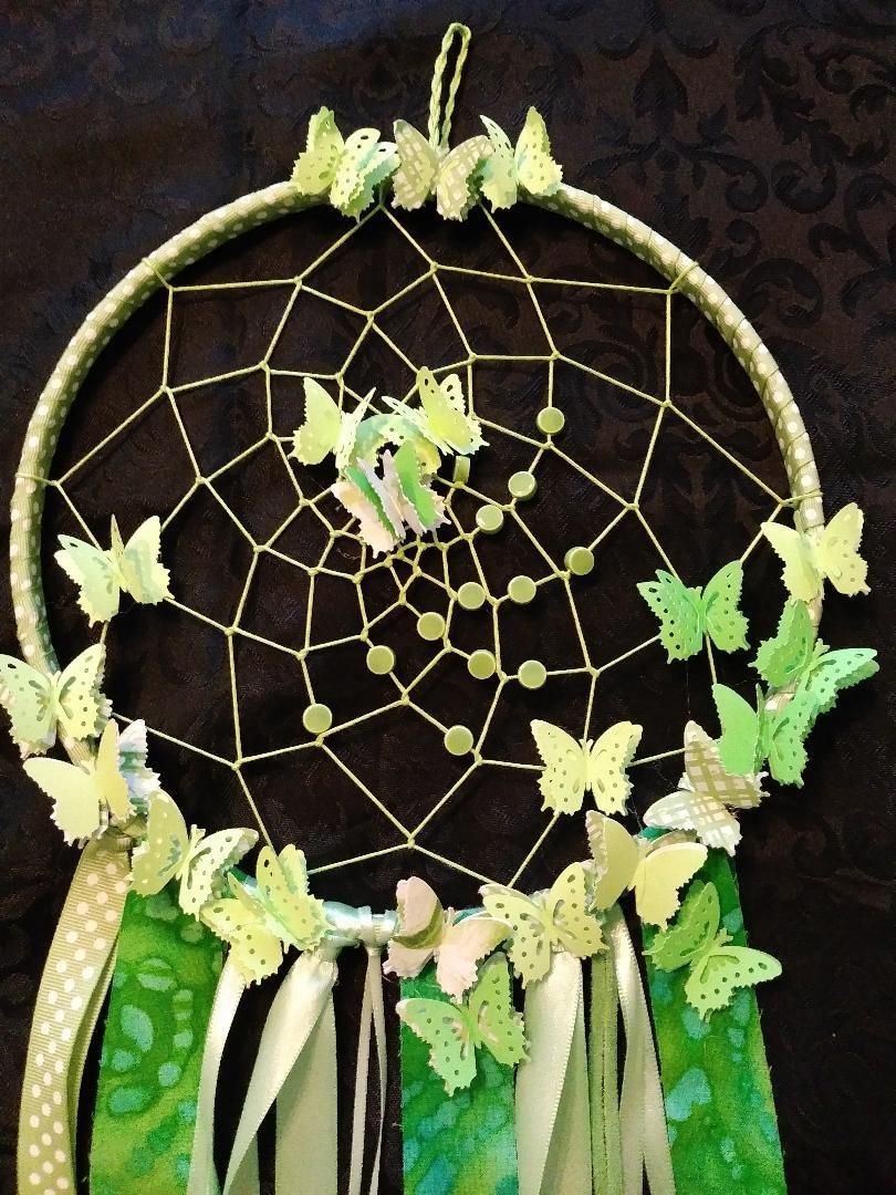 Light Lime Green Dreamcatcher w/Butterflies - Large