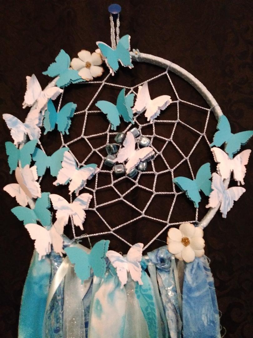 Turquoise & Light Blue Dreamcatcher w/Butterflies - Large