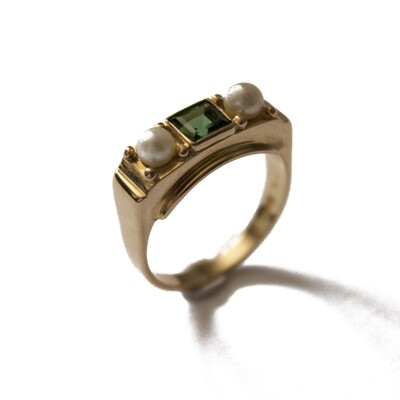 Circa 1950 Gold Tourmaline Pearl Set Ring