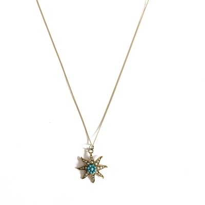 Circa 1950 Gold plated Starburst Pendant