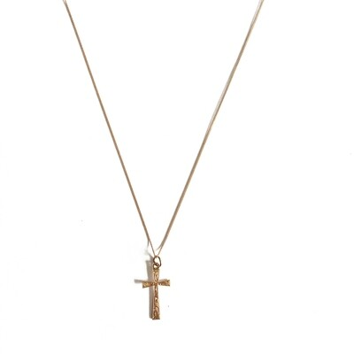 Circa 1930 Rose Gold Engraved Cross Pendant