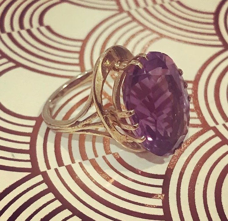 Circa 1970 9ct Gold Amethyst dress ring 00003