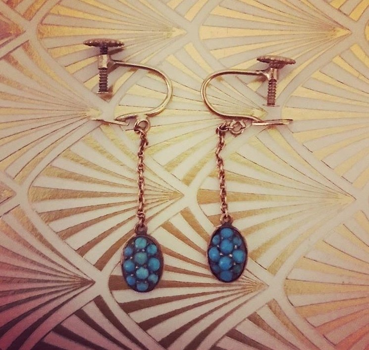 Circa 1910 Gold plated turquoise set drop earrings 00005