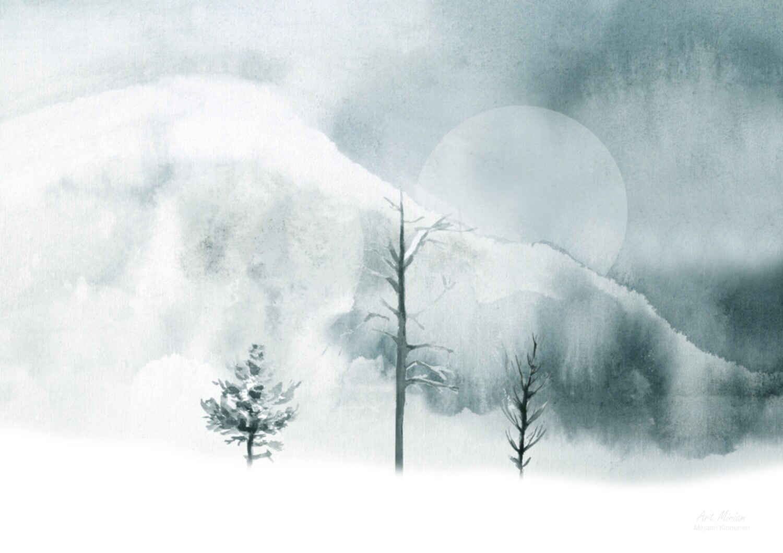 """Kaamos"" /""Polar Night"" Juliste 21x30cm."