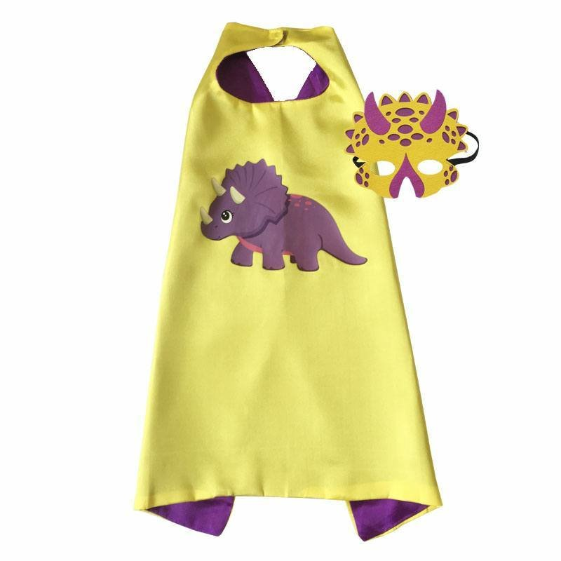Dinosaur Girl Triceratops Cape and Mask Set Dress Up 00046