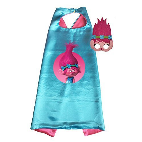 Traindrops Trolls Poppy and Branch Dress Up Cape and Mask Set Costume (Poppy) 00058