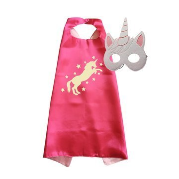 Traindrops Unicorn Birthday Party Favors Cape and Mask Set Costume (Hot Pink)