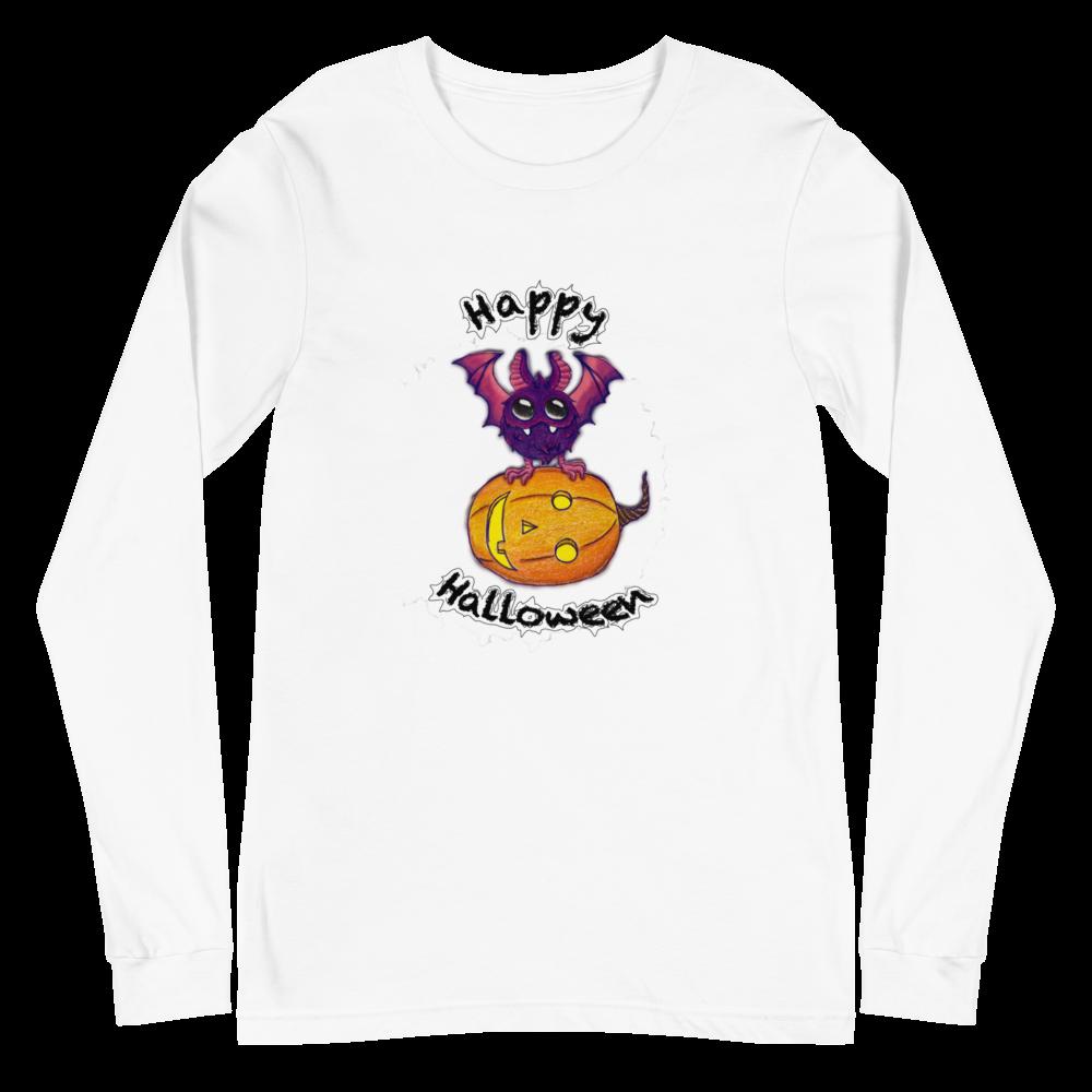 Bat & Pumpkin Halloween Unisex Long Sleeve Tee