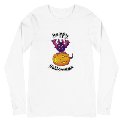 Bat & Pumpkin Halloween Unisex Long Sleeve Tee