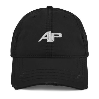 A1P Black Distressed Dad Hat