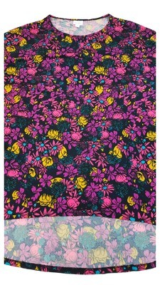 IRMA Black Multi Flowers Large (L) LuLaRoe Tunic fits 16-18