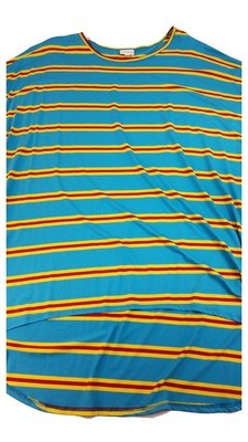 Irma Blue Yellow and Red Stripe LuLaRoe Tunic XX-Large (2XL) Multicolor fits 24-26