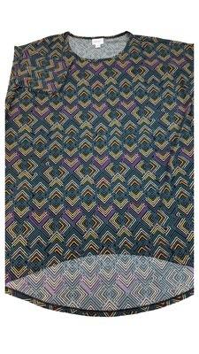 Irma LuLaRoe Pink and Teal Chevrons on Black Multicolor Geometric Floral Medium (M) Tunic fits 12-14