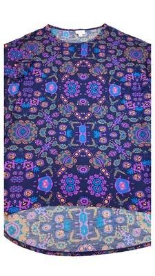 Irma LuLaRoe Navy Purple Orange Multicolor Geometric Floral Medium (M) Tunic fits 12-14