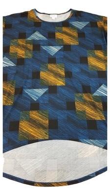 Irma LuLaRoe Black Blue Gold Multicolor Geometric Floral Medium (M) Tunic fits 12-14