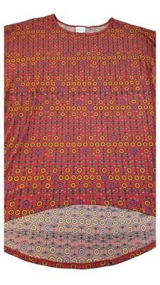 Irma LuLaRoe Red Bronze Purple Multicolor Geometric Floral Medium (M) Tunic fits 12-14