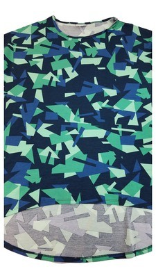 Irma LuLaRoe Navy Green Multicolor Geometric Medium (M) Tunic fits 12-14