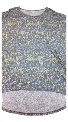 Irma LuLaRoe Lavendar and Yellow on Grey Multicolor Geometric Floral Medium (M) Tunic fits 12-14