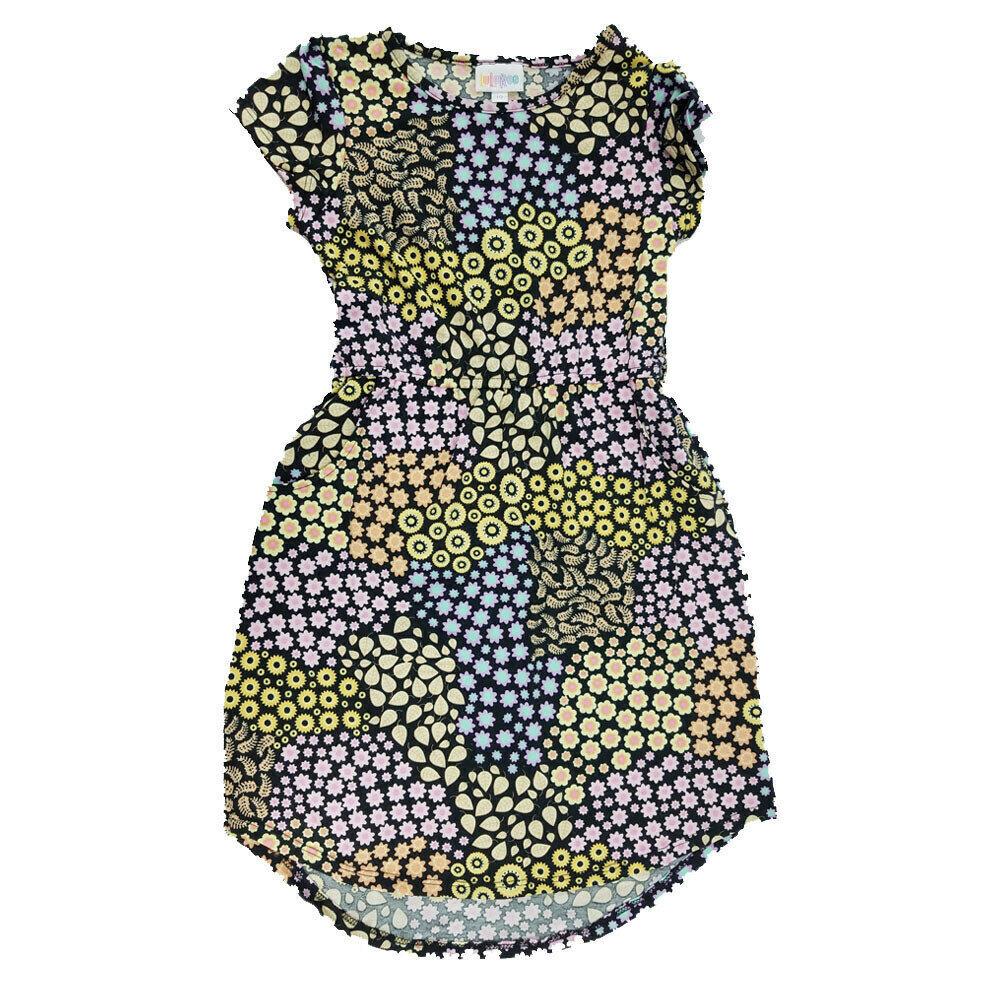 Kids Mae LuLaRoe Geometric Black Yellow Blue Polka Dot Pocket Dress Size 10 fits kids 8-10